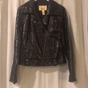 BKE black zebra print motorcycle jacket